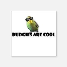 """Budgies are Cool Square Sticker 3"""" x 3"""""""