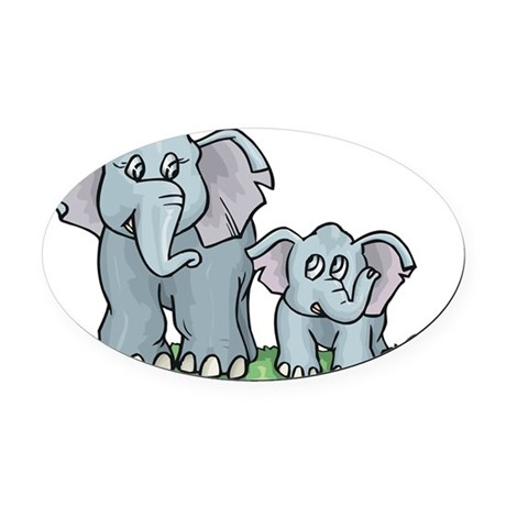 Elephant100.jpg Oval Car Magnet