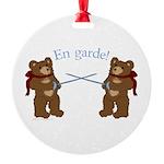 Teddy Bear Fencers Round Ornament