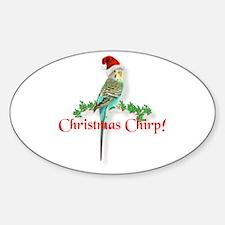 Christmas Budgie Sticker (Oval)