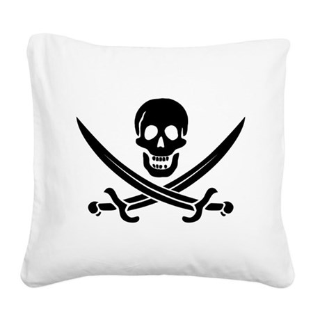Calico Jack Pirate Square Canvas Pillow