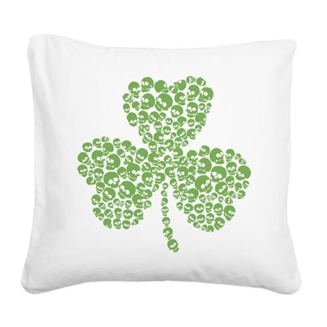 2-skull_shamrock.png Square Canvas Pillow