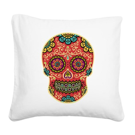 Red Sugar Skull Square Canvas Pillow