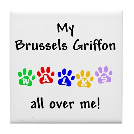 Brussels Griffon Walks Tile Coaster
