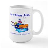 Christian fishing Large Mugs (15 oz)