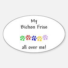 Bichon Frise Walks Oval Decal