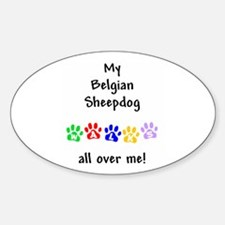 Belgian Sheepdog Walks Oval Decal