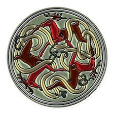 Celtic Deer Knot Round Car Magnet