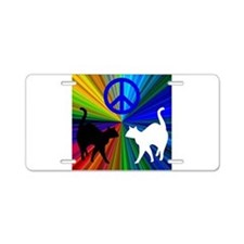 Peace Cats Aluminum License Plate