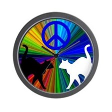 Peace Cats Wall Clock