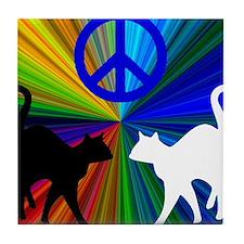 Peace Cats Tile Coaster