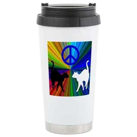 Peace Cats Stainless Steel Travel Mug