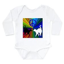 Peace Cats Long Sleeve Infant Bodysuit