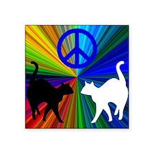 """Peace Cats Square Sticker 3"""" x 3"""""""