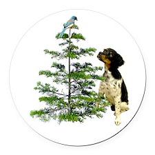 Bird Dog Tree Round Car Magnet
