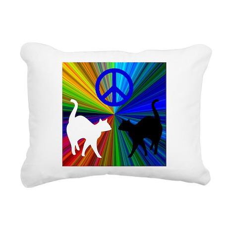 PEACE CATS Rectangular Canvas Pillow