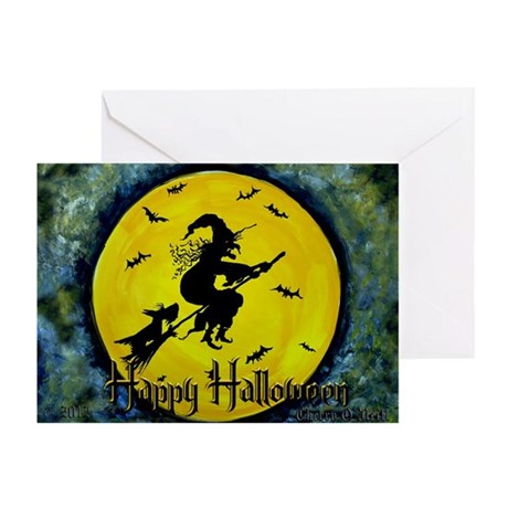 Scottie Witch Broom Greeting Card