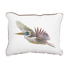 pelican flying Rectangular Canvas Pillow