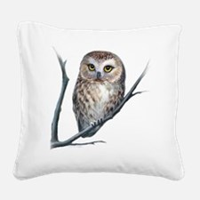 saw-whet owl light background Square Canvas Pillow