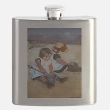 Children On The Beach Flask
