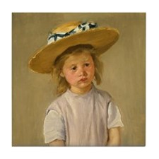 Child In Straw Hat Tile Coaster