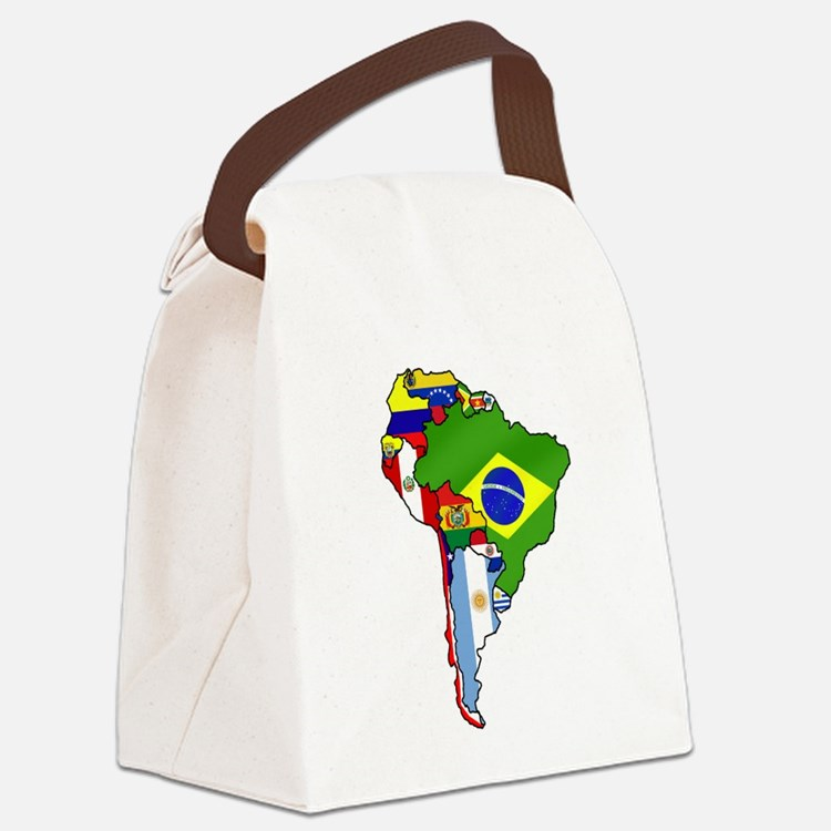 South America Flag Map Canvas Lunch Bag