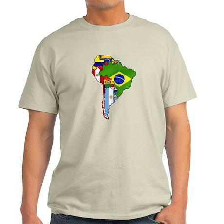 South America Flag Map Light T-Shirt
