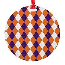 Orange and Purple Argyle Ornament