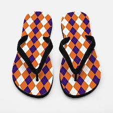 Orange and Purple Argyle Flip Flops