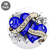 """Colon Cancer Survivor 3.5"""" Button (10 pack)"""