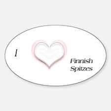 I heart Finnish Spitz Oval Decal