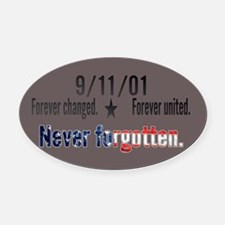 9/11 Tribute Forever United Oval Car Magnet