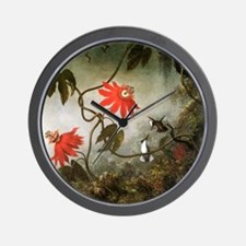 Passion Flowers and Hummingbirds Wall Clock
