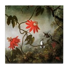 Passion Flowers and Hummingbirds Tile Coaster