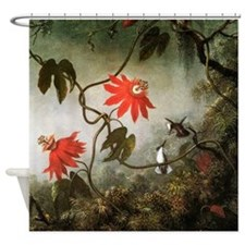 Passion Flowers and Hummingbirds Shower Curtain