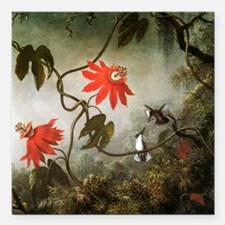Passion Flowers and Hummingbirds Square Car Magnet