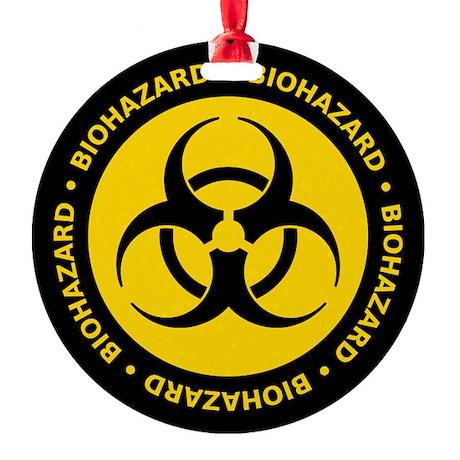 Biohazard Warning Round Ornament