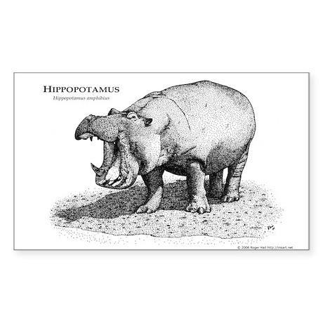 Hippopotamus Rectangle Sticker