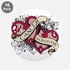 """Head Neck Cancer Survivor 3.5"""" Button (10 pack)"""