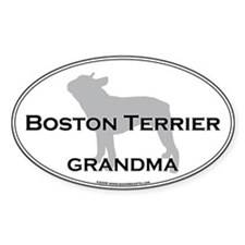Boston Terrier GRANDMA Oval Decal