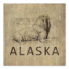 """Vintage Alaska Square Car Magnet 3"""" x 3"""""""
