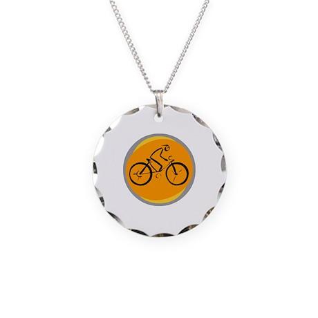 Bike Necklace Circle Charm
