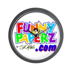 """""""FUNNY PAPERZ"""" Wall Clock"""