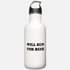 Will Run For Beer Water Bottle