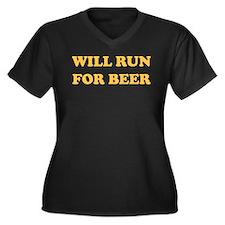 Will Run For Beer Women's Plus Size V-Neck Dark T-