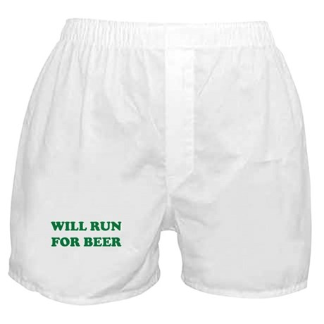 Will Run For Beer Boxer Shorts