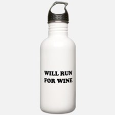 Will Run For Wine Water Bottle