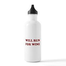 Will Run For Wine Water Bottle