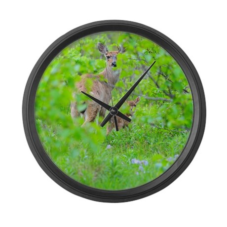 White Tail Deer Large Wall Clock By Wildamericanphotography