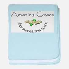 Amazing grace with flowers baby blanket